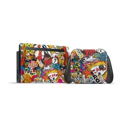 Nintendo Switch Skin - Design Aufkleber Stickerbomb Color